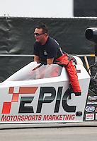 Feb 10, 2017; Pomona, CA, USA; NHRA top alcohol dragster driver Alan Bradshaw during qualifying for the Winternationals at Auto Club Raceway at Pomona. Mandatory Credit: Mark J. Rebilas-USA TODAY Sports