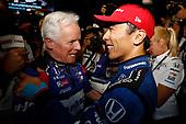 Takuma Sato, Rahal Letterman Lanigan Racing Honda celebrates in victory lane, with engineer Eddie Jones