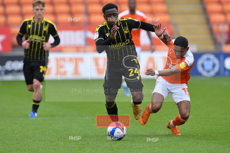 09/05/2021 Sky Bet League 1 Blackpool v Bristol Rovers  <br /> <br /> David Tutonda fouls Demetri Mitchell