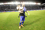 Deportivo Alaves' Alexis Ruano celebrates the victory in the Spanish Kings Cup semifinal. February 08,2017. (ALTERPHOTOS/Acero)