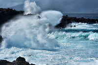 Storm waves of coast in Kapalua, Maui, Hawaii.