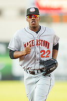 Center fielder Destin Hood #22 of the Hagerstown Suns jogs off the field between innings of the South Atlantic League game against the Greensboro Grasshoppers at NewBridge Bank Park July 30, 2010, in Greensboro, North Carolina.  Photo by Brian Westerholt / Four Seam Images