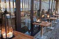 Europe/France/Aquitaine/40/Landes/Hossegor: Restaurant: Jean des Sables détail,de la terrasse en front de mer