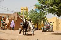 NIGER Zinder, bullock cart and Mahindra tractor at grand mosque / NIGER Zinder, Ochsengespann und Traktor an der Grossen Moschee
