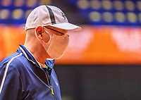 Den Bosch, The Netherlands, April 16, 2021,    Maaspoort, Billy Jean King Cup  Netherlands -  China , seccond day first match: Linesman with facemask<br /> Photo: Tennisimages/Henk Koster