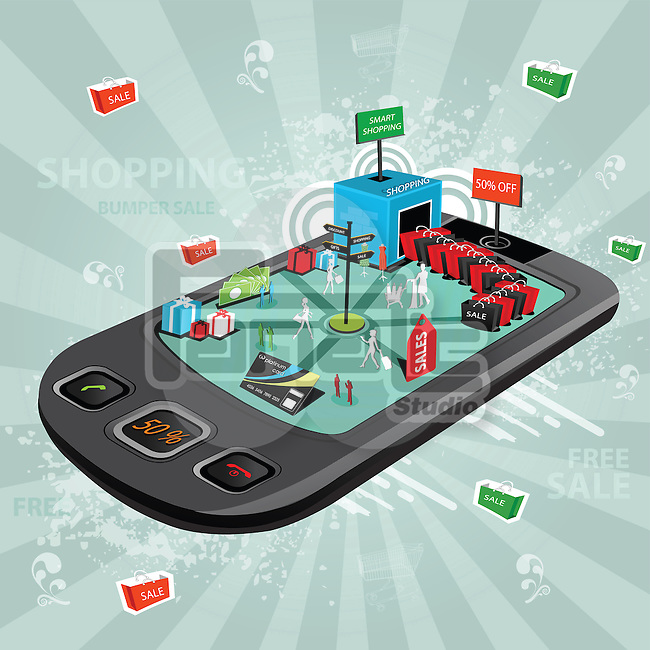 Illustrative representation showing the use of a mobile phone for e-shopping