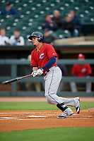 Columbus Clippers shortstop Giovanny Urshela (39) bats during a game against the Louisville Bats on May 1, 2017 at Louisville Slugger Field in Louisville, Kentucky.  Columbus defeated Louisville 6-1  (Mike Janes/Four Seam Images)
