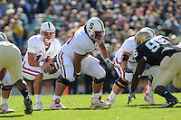 South Bend, IN - OCTOBER 4:  Center Alex Fletcher #60 and quarterback Tavita Pritchard #14 of the Stanford Cardinal during Stanford's 28-21 loss against the Notre Dame Fighting Irish on October 4, 2008 at Notre Dame Stadium in South Bend, Indiana.
