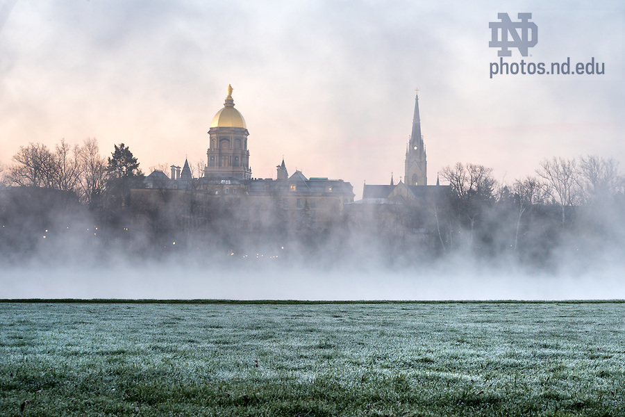 Mar. 29, 2016; St. Joseph Lake at sunrise. (Photo by Matt Cashore/University of Notre Dame)