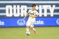 KANSAS CITY, KS - JUNE 26: Kim Moon-hwan  #33 Los Angeles FC with the ball during a game between Los Angeles FC and Sporting Kansas City at Children's Mercy Park on June 26, 2021 in Kansas City, Kansas.