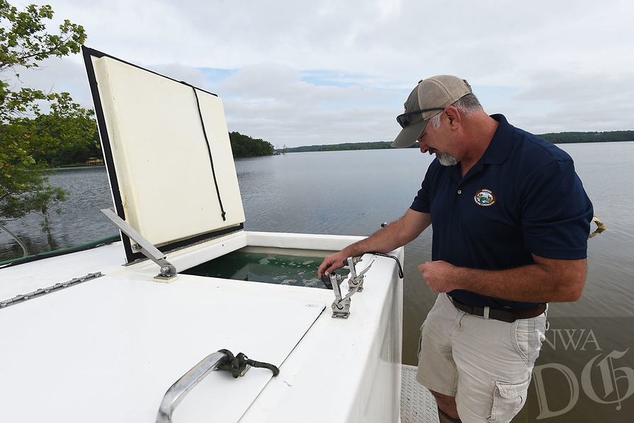 WALLEYE FOR BEAVER LAKE <br />Heath Dake with the Arkansas Game and Fish Commission checks the pH level of a tank full of several thousand walleye fry before stocking the game fish in Beaver Lake. Some 102,000 walleye averaging two inches long were released into the lake at the Arkansas 12 bridge access. It will take three to four years for the fry that survive to reach 18 inches long, said Jon Stein, a fisheries biologist with Game and Fish. Many get eaten by other fish. Walleye must be 18 inches or longer to keep at Beaver Lake. The daily limit is four. The walleye were raised from eggs this spring at the Charlie Craig State Fish Hatchery in Centerton. Some 150,000 walleye raised at the hatchery will be stocked at Lake Norfork near Mountain Home and 10,000 will be stocked at Lake Fort Smith. Walleye are raised each year, along with other warm water fish, at the hatchery operated by Game and Fish. Go to nwaonline.com/210609Daily/ to see more photos.<br />(NWA Democrat-Gazette/Flip Putthoff)