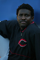 Felix Heredia of the Cincinnati Reds during a 2003 season MLB game at Dodger Stadium in Los Angeles, California. (Larry Goren/Four Seam Images)