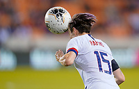 HOUSTON, TX - FEBRUARY 03: Megan Rapinoe #15 of the United States heads a ball during a game between Costa Rica and USWNT at BBVA Stadium on February 03, 2020 in Houston, Texas.