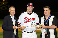 Buffalo Bisons pitcher Matt Harvey #43 is awarded the International League MVP by IL president Randy Mobley (left) and an MiLB representative after the Triple-A All-Star Game Coca-Cola Field on July 11, 2012 in Buffalo, New York.  The Pacific Coast League defeated the International League 3-0.  (Mike Janes/Four Seam Images via AP Images)