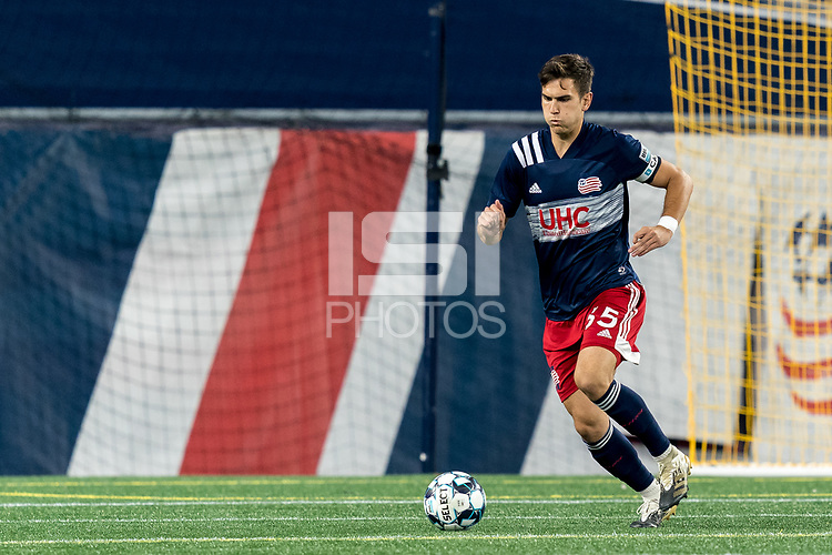 FOXBOROUGH, MA - SEPTEMBER 09: Collin Verfurth #35 of New England Revolution II brings the ball forward during a game between Chattanooga Red Wolves SC and New England Revolution II at Gillette Stadium on September 09, 2020 in Foxborough, Massachusetts.