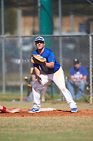 Illinois College Blueboys first baseman Brendan Stanfield (7) waits for a pickoff attempt throw during a game against the Edgewood Eagles on March 14, 2017 at Terry Park in Fort Myers, Florida.  Edgewood defeated Illinois College 11-2.  (Mike Janes/Four Seam Images)