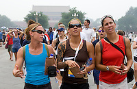 USWNT captain Christie Rampone talks with teammate Natasha Kai and Shannon Boxx  while touring the Forbidden City in Beijing, China.  The team will spend a few days in the capital before moving to Qinhuangdao for their first two group games of the 2008 Olympics.
