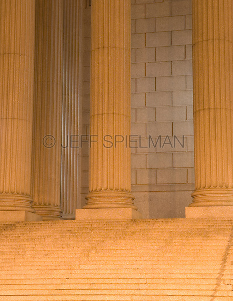 AVAILABLE FROM GETTY IMAGES FOR COMMERCIAL AND EDITORIAL LICENSING.  Please go to www.gettyimages.com and search for image # 115925717.<br /> <br /> Detail of Courthouse Colonnade and Staircase Illuminated at NIght, Foley Square, Lower Manhattan, New York City, New York State, USA