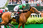 LOUISVILLE, KENTUCKY, MAY 05: Proctor's Ledge , #6, ridden by John Velazquez, wins the Churchill Distaff Turf Mile Stakes on Kentucky Derby Day at Churchill Downs on May 5, 2018 in Louisville, Kentucky. ( Photo by Sue Kawczynski/Eclipse Sportswire/Getty Images)