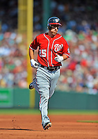 9 June 2012: Washington Nationals first baseman Adam LaRoche rounds the bases after hitting a home run against the Boston Red Sox at Fenway Park in Boston, MA. The Nationals defeated the Red Sox 4-2 in the second game of their 3-game series. Mandatory Credit: Ed Wolfstein Photo