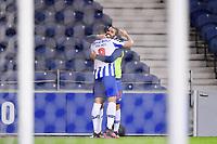30th April 2021; Dragao Stadium, Porto, Portugal; Portuguese Championship 2020/2021, FC Porto versus Famalicao; Mehdi Taremi of FC Porto celebrates his penalty goal with Sergio Oliveira in the 61th minute 2-1