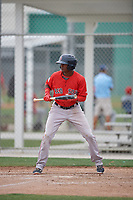 Boston Red Sox Yoan Aybar (32) squares to bunt during a minor league Spring Training intrasquad game on March 31, 2017 at JetBlue Park in Fort Myers, Florida. (Mike Janes/Four Seam Images)