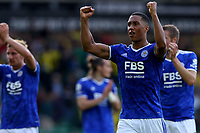 28th August 2021; Carrow Road, Norwich, Norfolk, England; Premier League football, Norwich versus Leicester; Youri Tielemans of Leicester City celebrates the 1-2 win