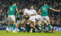 Saturday 2nd February 2019 | Ireland vs England<br /> <br /> Jack Nowell is tackled by Rory Best during the opening Guinness 6 Nations clash between Ireland and England at the Aviva Stadium, Lansdowne Road, Dublin, Ireland.  Photo by John Dickson / DICKSONDIGITAL