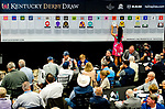 LOUISVILLE, KY - MAY 01: Morning line favorite Justify gets the 7 post for the Kentucky Derby during the Kentucky Derby Post Draw at Churchill Downs on May 1, 2018 in Louisville, Kentucky. (Photo by Scott Serio/Eclipse Sportswire/Getty Images)