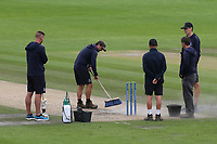 Sussex groundstaff prepare the pitch for the last session after the tea interval during Sussex CCC vs Glamorgan CCC, LV Insurance County Championship Group 3 Cricket at The 1st Central County Ground on 5th July 2021