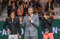 Rotterdam, The Netherlands, 18 Februari, 2018, ABNAMRO World Tennis Tournament, Ahoy, Singles final, the tournament director Richard Krajicek makes his speech, left the winner of the 45th ABNAMROWTT  Roger Federer (SUI) and right the runner up Grigor Dimitrov (BUL)<br /> Photo: www.tennisimages.com/henkkoster