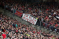 Pictured: Manchester United supporters.<br /> Sunday 12 May 2013<br /> Re: Barclay's Premier League, Manchester City FC v Swansea City FC at the Old Trafford Stadium, Manchester.
