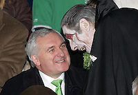 17/03/07 Dracula has a word in Taoiseach Bertie Ahern's ear  in the St Patrick's Day Parade 2007 in Dublin...Picture Collins, Dublin, Colin keegan.