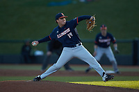 Illinois Fighting Illini relief pitcher RyanKutt (19) in action against the Coastal Carolina Chanticleers at Springs Brooks Stadium on February 22, 2020 in Conway, South Carolina. The Fighting Illini defeated the Chanticleers 5-2. (Brian Westerholt/Four Seam Images)
