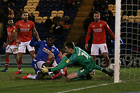 Theo Robinson of Colchester United scores the second goal for his team during Colchester United vs Swindon Town, Sky Bet EFL League 2 Football at the JobServe Community Stadium on 28th January 2020