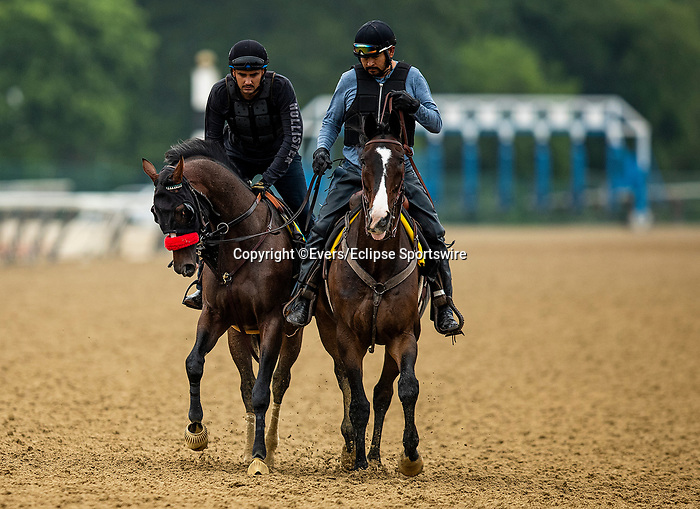 June 4, 2021:  Hot Rod Charlie ponies with Lava Man as he prepares for the Belmont Stakes at Belmont Park in Elmont, New York on June 4, 2021. Evers/Eclipse Sportswire/CSM