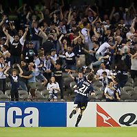 MELBOURNE, AUSTRALIA - OCTOBER 30: Robbie Kruse of the Victory celebrates his goal during the round 12 A-League match between the Melbourne Victory and Adelaide United at Etihad Stadium on October 30, 2010 in Melbourne, Australia.  (Photo by Sydney Low / Asterisk Images)