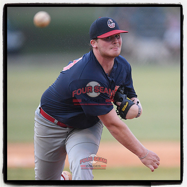 Parker Kruglewicz (20) of the Greer Warhawks pitched a 7-inning 1-hitter to earn the 13-0 win over Simpsonville in a South Carolina American League game on Monday, July 27, 2020, at Shoeless Joe Jackson Memorial Park in Greenville, South Carolina. (Tom Priddy/Four Seam Images)