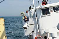 GERMANY , old fishing vessel during swell at baltic sea / DEUTSCHLAND, alter 26er Fischkutter Seefuchs im Seegang auf der Ostsee