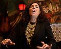 Lisbon, Portugal. 05.05.2015. Filipa Tavares, Fadista, singing in restaurant Coracao de Alfama, where she is a resident performer. Photograph © Jane Hobson.