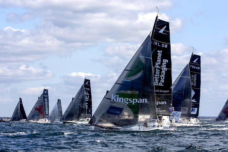 Tom Dolan and Smurfit Kappa-Kingspan have clear air and are on their way to first at the Fastnet Rock.