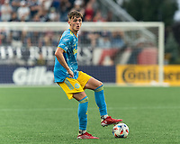 FOXBOROUGH, MA - AUGUST 8: Jack McGlynn #16 of Philadelphia Union looks to pass during a game between Philadelphia Union and New England Revolution at Gillette Stadium on August 8, 2021 in Foxborough, Massachusetts.