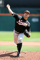 May 9, 2009:  Starting Pitcher Jason Berken of the Norfolk Tides, International League Class-AAA affiliate of the Baltimore Orioles, delivers a pitch during a game at Coca-Cola Field in Buffalo, FL.  Photo by:  Mike Janes/Four Seam Images