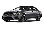 Stock pictures of low aggressive front three quarter view of 2020 Mercedes Benz E-Class AMG-E53 4 Door Sedan Low Aggressive