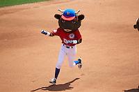 Buffalo Bisons mascot Buster T. Bison wins the mascot race on his birthday during a game against the Scranton/Wilkes-Barre RailRiders on July 2, 2016 at Coca-Cola Field in Buffalo, New York.  Scranton defeated Buffalo 5-1.  (Mike Janes/Four Seam Images)
