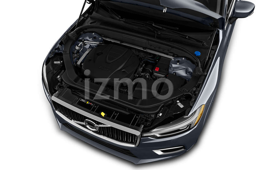 Car Stock 2020 Volvo XC60 Inscription 5 Door SUV Engine  high angle detail view