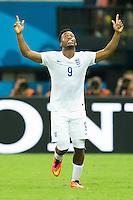 Daniel Sturridge of England celebrates scoring a goal after making it 1-1