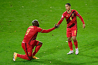 15th November 2020; Leuven, Belgium;  Youri Tielemans midfielder of Belgium celebrates scoring a goal with Romelu Lukaku forward of Belgium during the UEFA Nations League match group stage final tournament - League A - Group 2 between Belgium and England