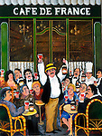 """""""Cafe de France""""<br /> Limited Edition Lithograph<br /> Commissioned by Georges DuBoeuf, Macon,France<br /> SN Paper $500.<br /> AP w/Original Watercolor Remarque - Paper $1,350."""