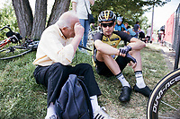 as teambuses weren't allowed up the road at the stage start in the tiny birth town of Fausto Coppi: Castellania, riders were relaxing all over the place ahead of the actual start and were very accessible for fans <br /> <br /> 100th Giro d'Italia 2017<br /> Stage 14: Castellania › Oropa (131km)